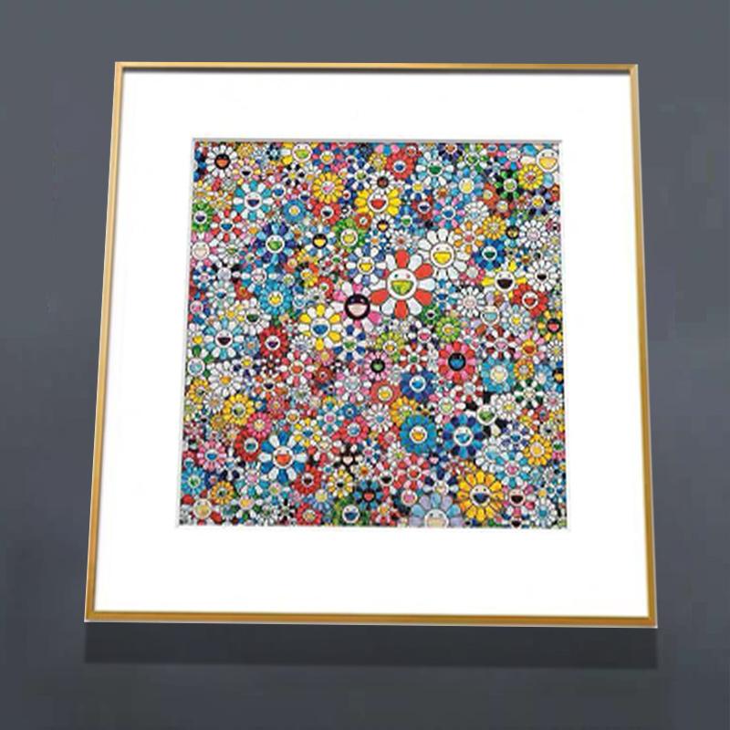 浩宇现代装饰画波普艺术村上隆太阳花系列签名限量版画 花和笑脸