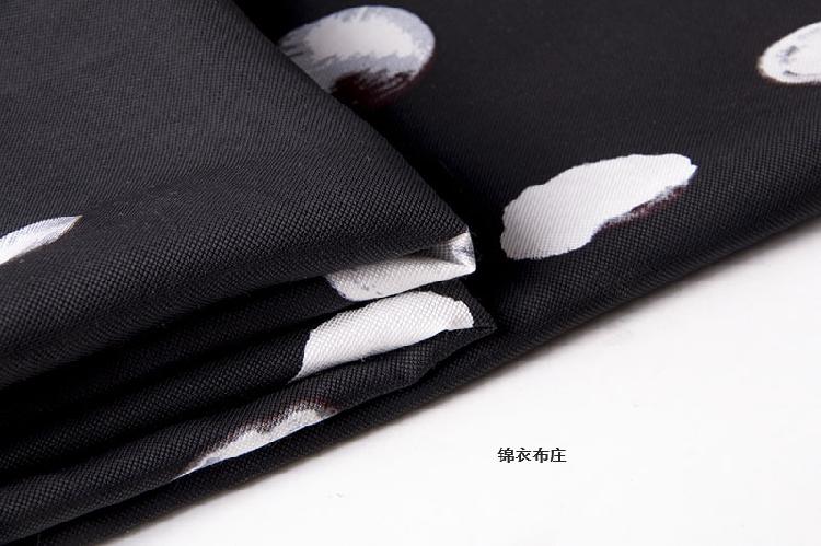 春季夏季新款高端亚麻黑白波点欧洲站时尚女装连衣裙套装裤子布料