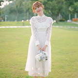 [Windy] 2020 spring new palace complex Gulei Si embroidered long-sleeved dress fairy journey wedding shoot light