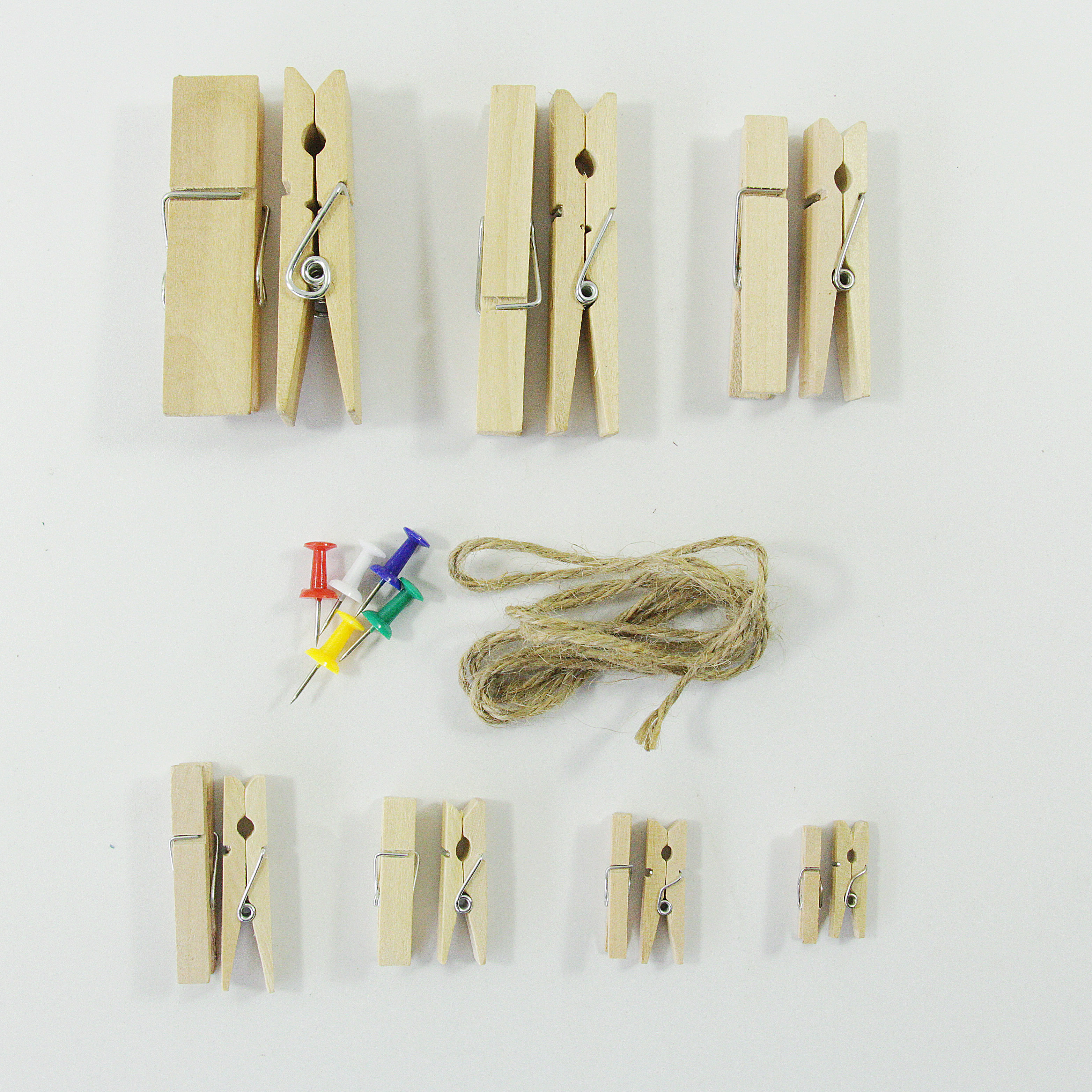 包邮50个原色木夹子照片夹子麻绳桦木相片夹木制小夹子收纳夹