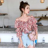 Strap word shoulder top women's bare shoulders 2020 spring and summer new lotus leaf floral short sleeve exposed clavicle chiffon shirt