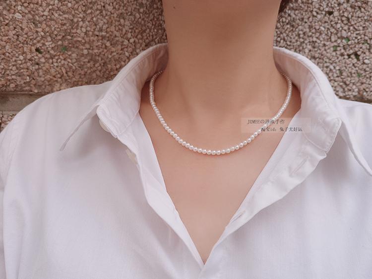 正圆强光迷你天然淡水珍珠串珠项链 3.5mm 3 镶 珍珠手作 JOMEE