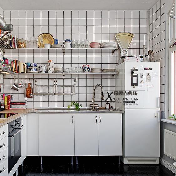 简约人气全瓷小白砖马赛克300黑白九格厨房卫生间墙砖背景阳台