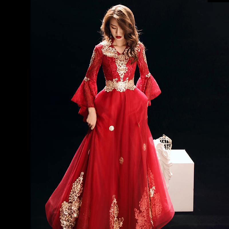 中式敬酒服女2019新款秋冬长袖酒红色中国风新娘结婚礼服孕妇冬季