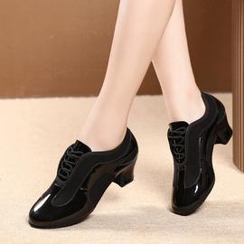拉丁舞鞋成年女士软底交谊广场跳舞鞋成人中跟教师鞋牛津布舞蹈鞋