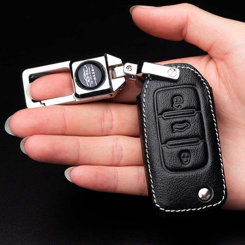 专用于大众宝来钥匙套新朗逸桑塔纳速腾朗行途观捷达汽车真皮包扣