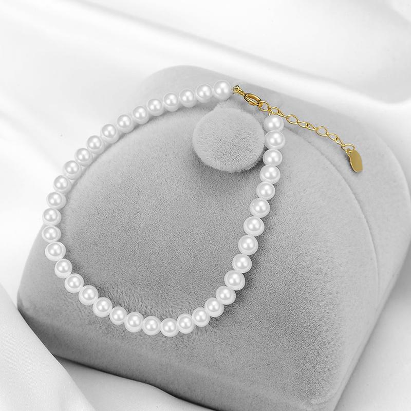 顺丰包邮 金 18K 淡水珍珠手链女白色正圆形珍珠 Cardiny 卡蒂尼
