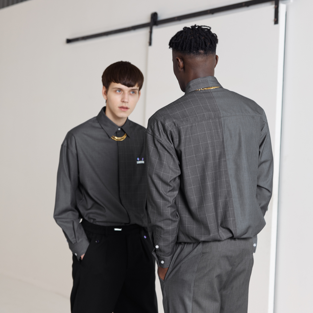 【预售】Unawares SS19 条纹格纹左右镶嵌长袖衬衫 灰格条纹