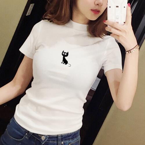 2021夏季新款白色半高领短袖t恤女纯色韩范纯棉修身显瘦紧身体恤主图
