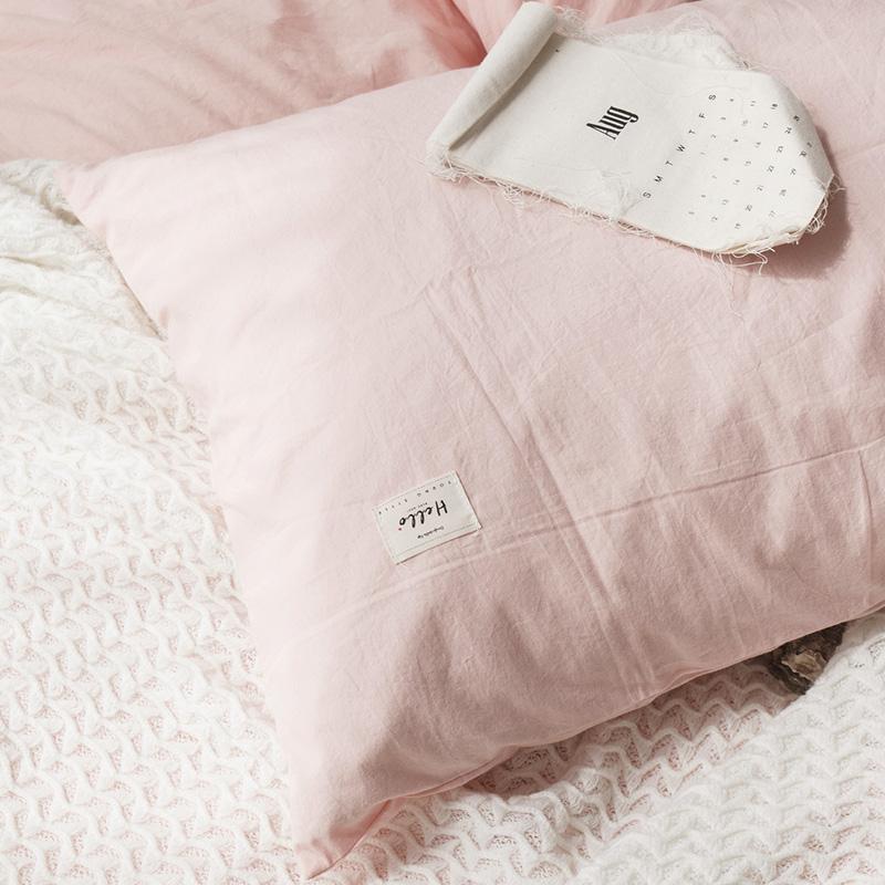 ins水洗棉四件套全棉纯棉简约少女心床上用品床单被套宿舍三件套4