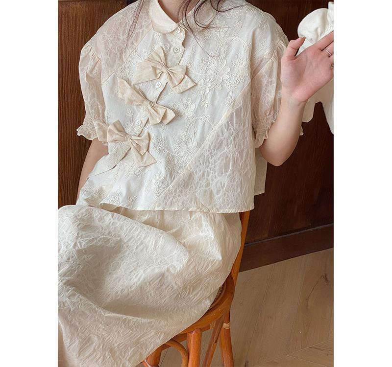 霍里德地图 杏色刺绣拼接蝴蝶结上衣+半身裙两件套女夏季2021套装