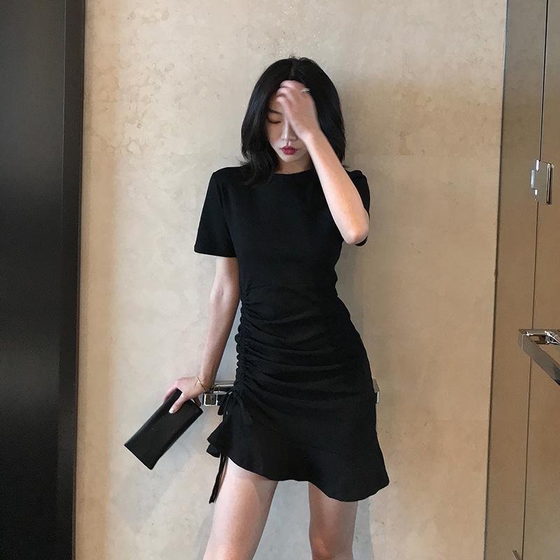 2021夏装新款小黑裙气质修身抽褶显瘦鱼尾裙性感包臀抽绳连衣裙女