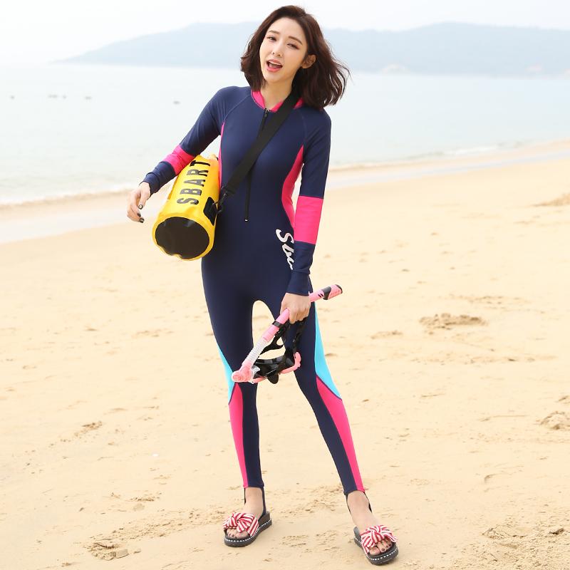 Sbart鲨巴特潜水服女韩国游泳衣防晒分体长袖连体泳衣水母浮潜服