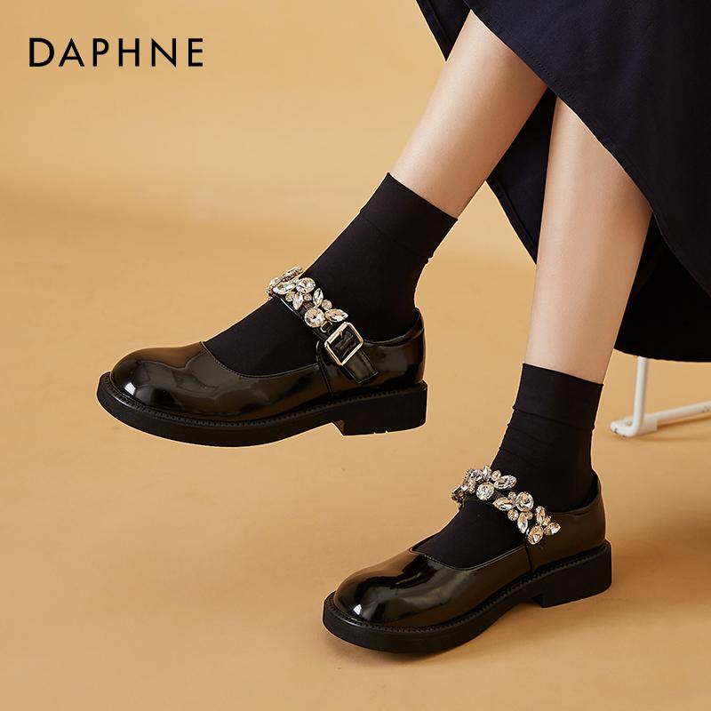 年新款法式圆头黑色小皮鞋平底粗跟单鞋水钻 2021 达芙妮玛丽珍鞋女
