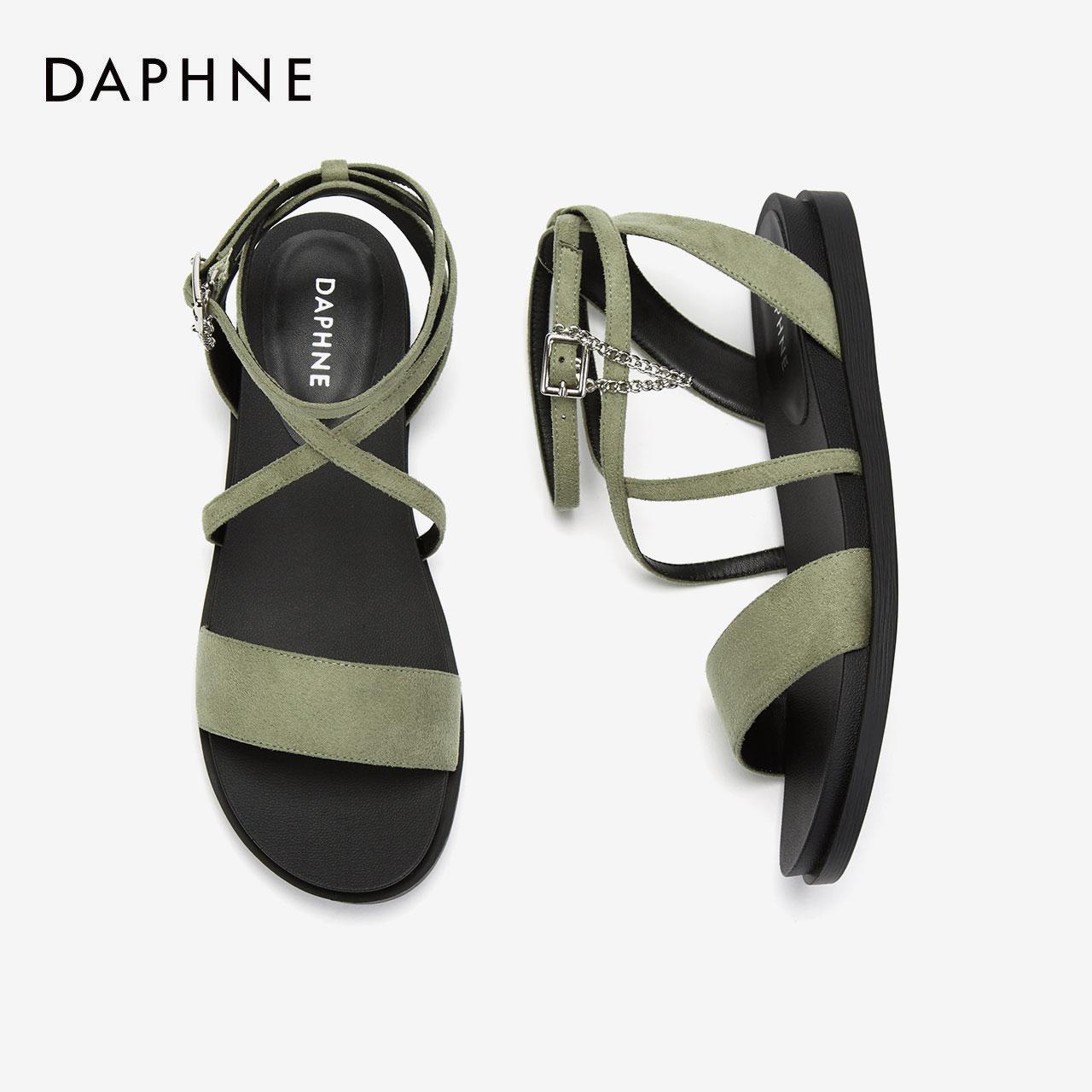 夏季新款凉鞋罗马风环绕脚踝一字带平底凉鞋绒面拼接风 2020 达芙妮
