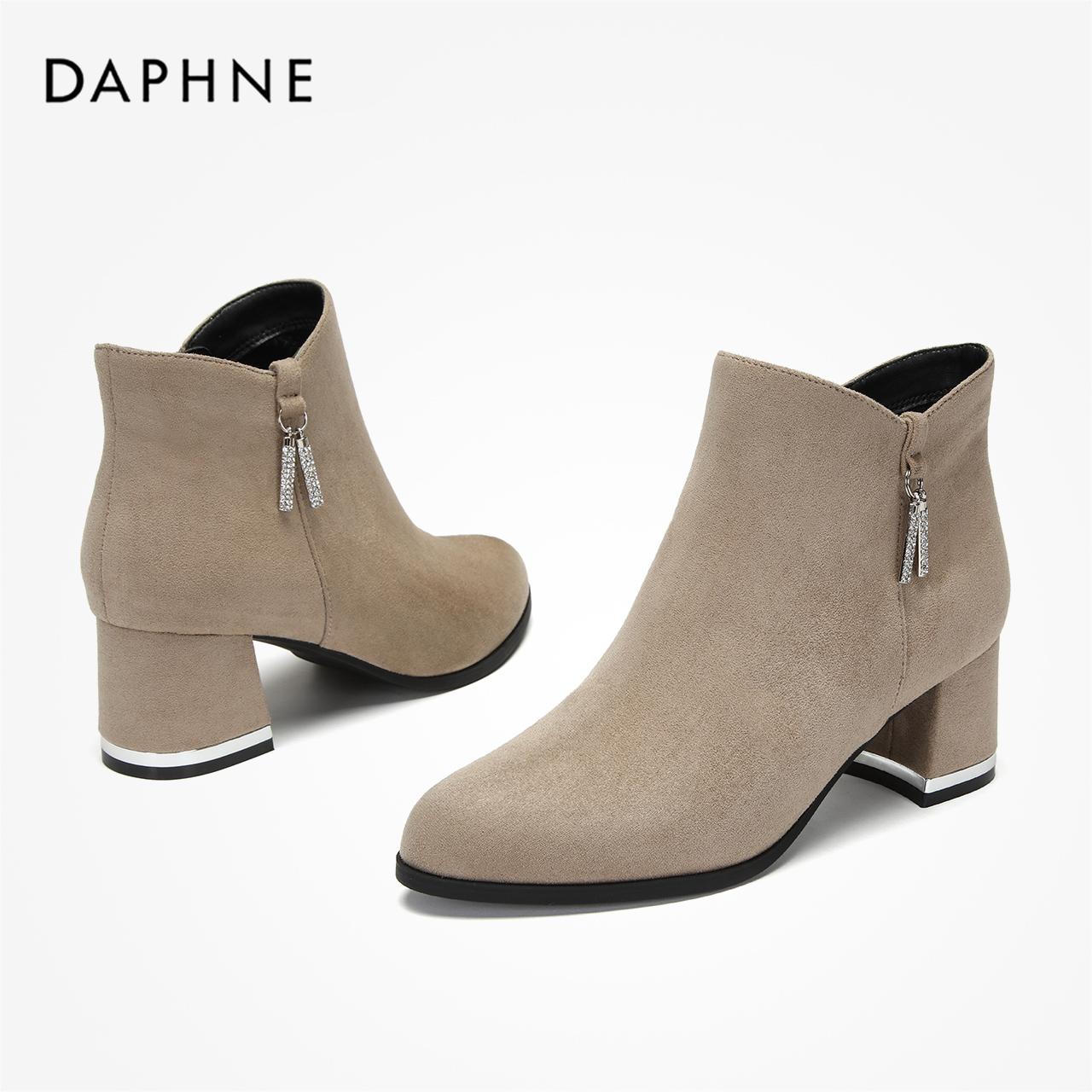 冬尖头时装靴闪耀钻饰粗跟绒面高跟短靴踝靴 2019 达芙妮 Daphne