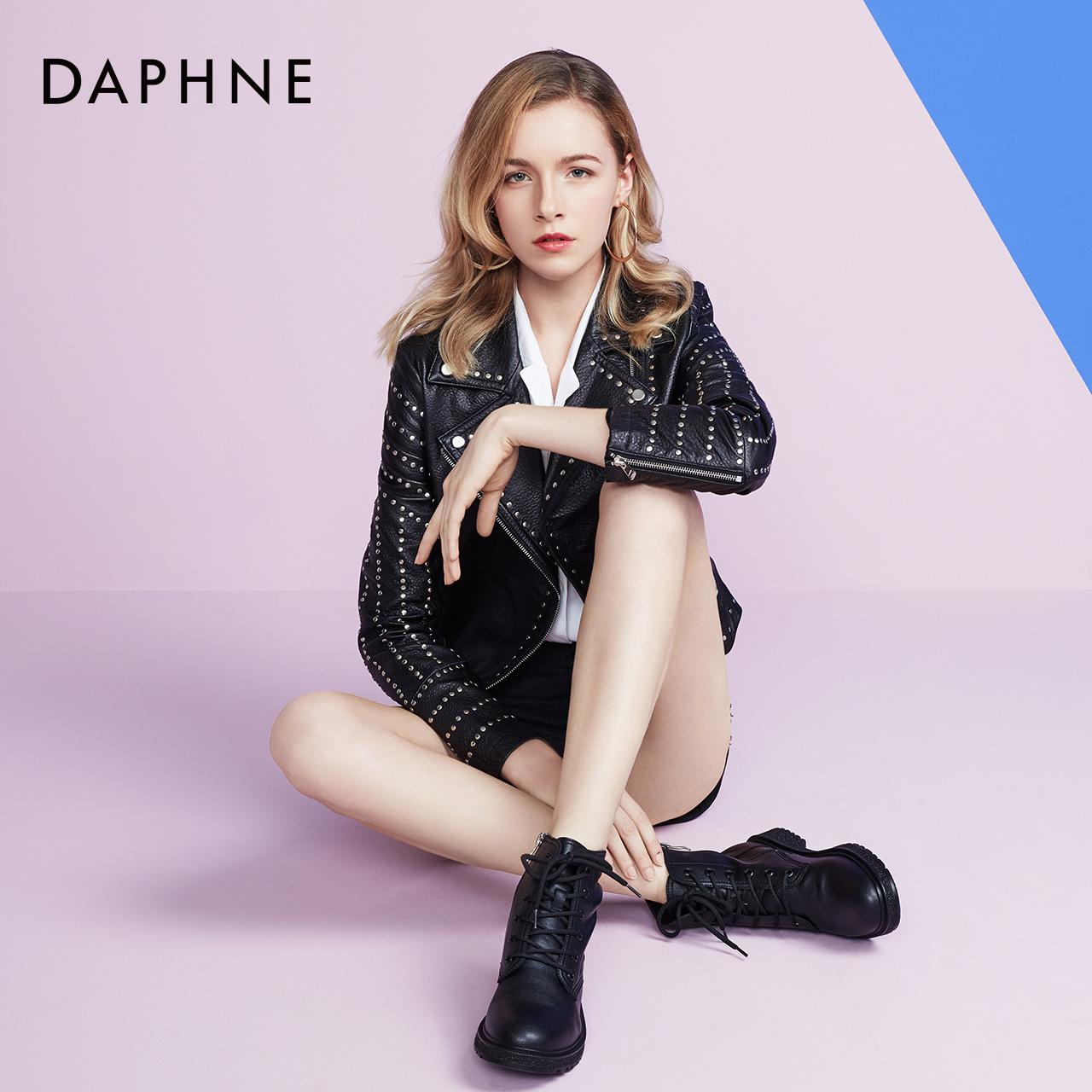 秋冬学生马丁靴女圆头平底显瘦休闲靴时尚短靴 2019 达芙妮 Daphne