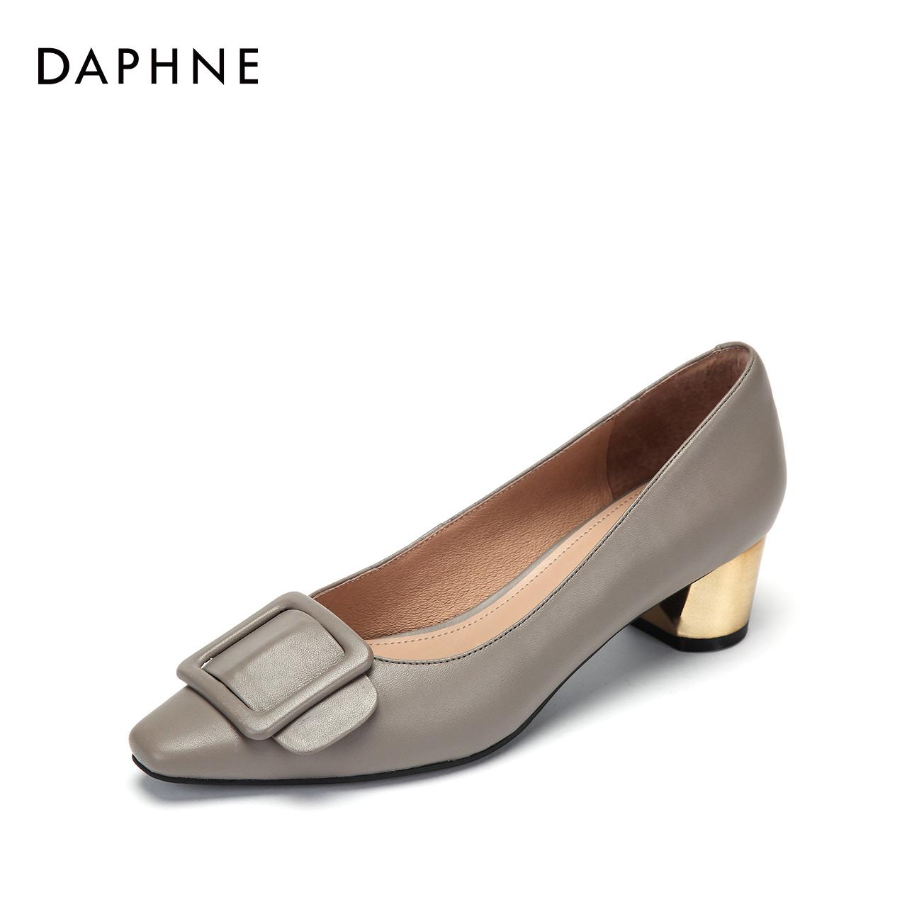 新款牛皮时尚浅口方头皮带扣优雅粗跟单鞋女 2018 达芙妮 Daphne