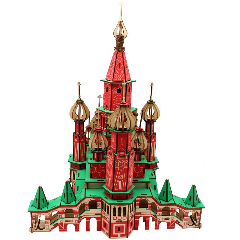 成人木质拼图立体3d模型儿童益智力玩具木头房diy拼插积木制建筑
