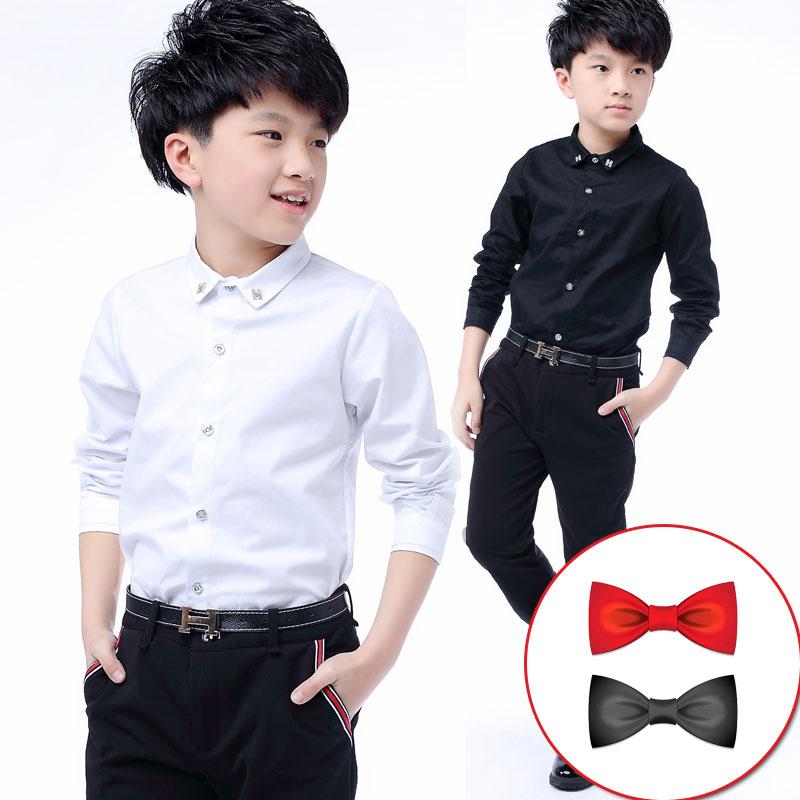 兒童白色襯衫長袖小男孩純棉黑色個性韓版潮短袖純白春款男童襯衣