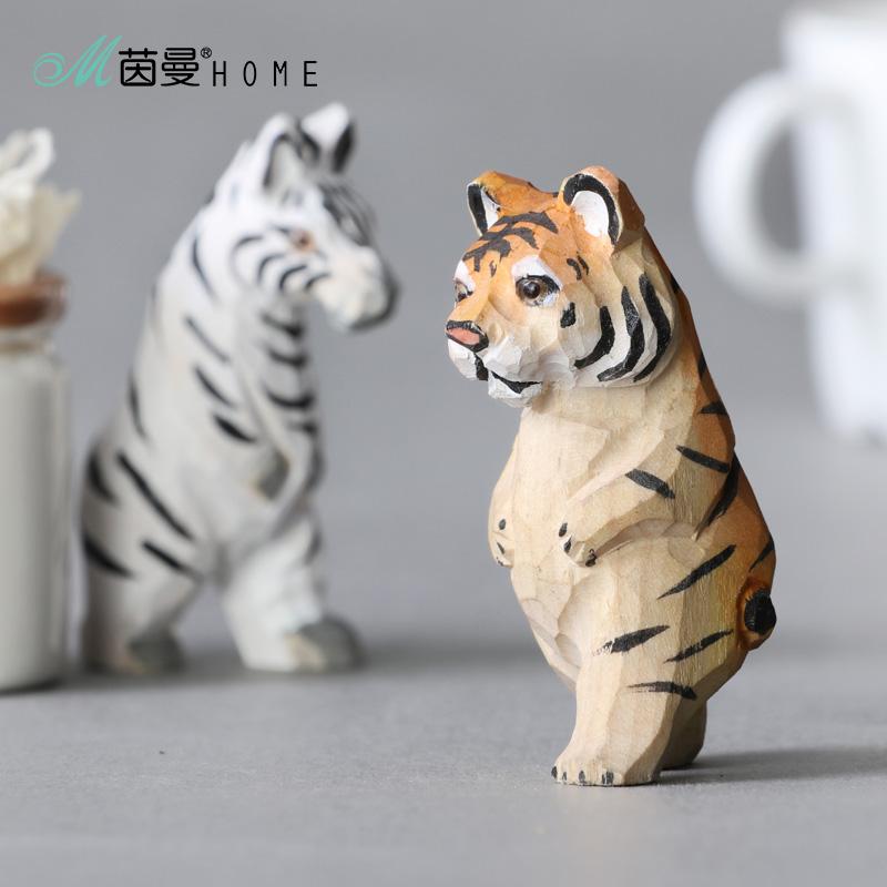 茵曼实木手工木雕摆件老虎 木雕工艺品小老虎客厅摆件家居饰品