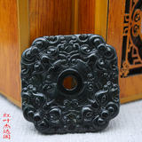 Double-sided carved dark green jade square guard pendant natural dark green jade square animal beast pendant jade amulet