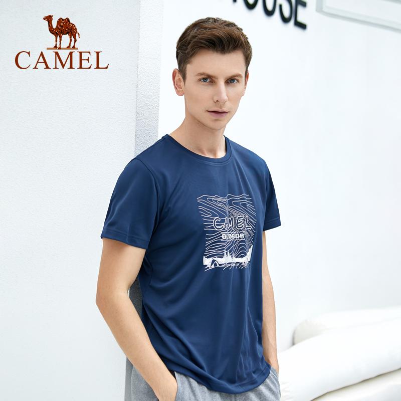 骆驼户外速干衣短袖男夏季速干t恤女圆领透气排汗运动功能健身衣