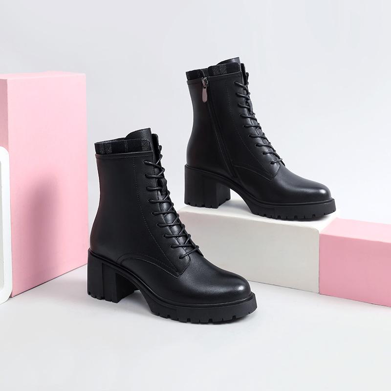 年冬季新款加绒保暖马丁靴真皮系带粗跟瘦瘦短靴百搭女鞋 2020 骆驼