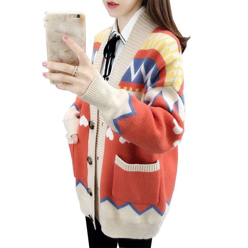 毛衣开衫加厚中长款2020春秋冬季新款网红宽松针织慵懒风外套女士