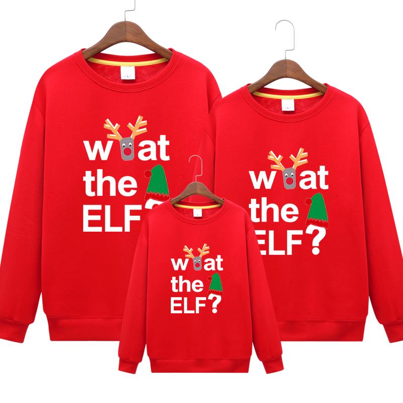圣诞节卫衣加绒加厚一家三口亲子装卫衣全家装全家福服装字母卫衣