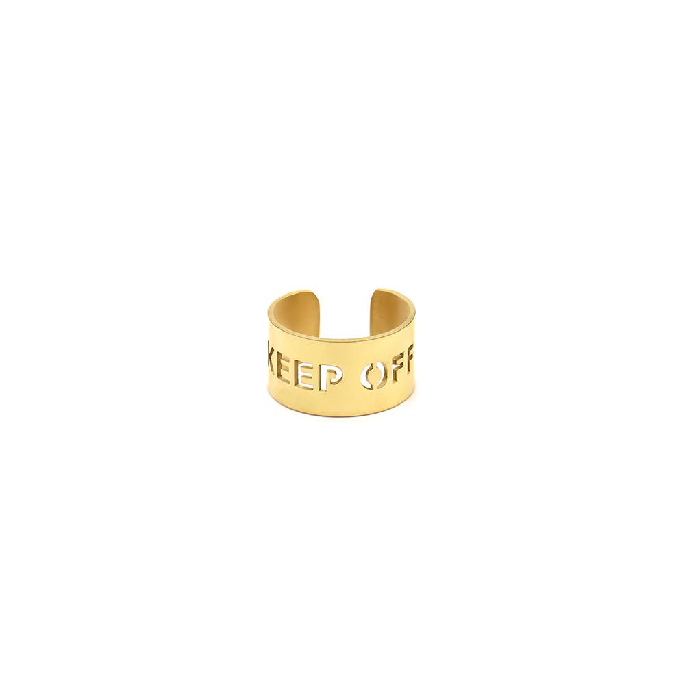BLUE 潮牌联名戒指镂空字母欧美搭配镀金宽版镜面嘻哈指环男 GRAY