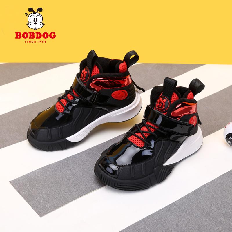 冬季新款儿童运动鞋加绒二棉鞋防滑防水 2020 巴布豆童鞋男童棉鞋