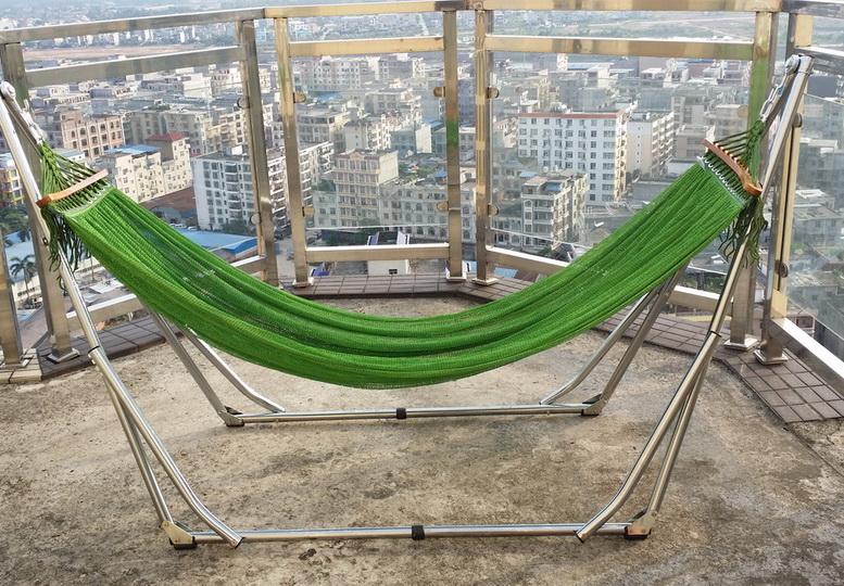 包郵越南白色鐵架吊床 單人摺疊室內戶外家居網床可調單人支架