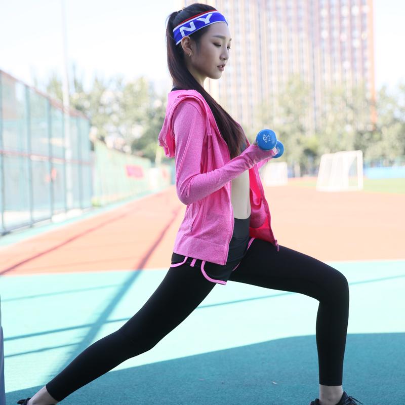 瑜伽服三件套健身跑步衣运动服套装女秋冬防震文胸速干裤长袖外套