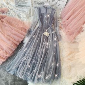 鲤鱼小姐温柔风气质仙女裙闪闪亮片网纱大摆中长款连衣裙两件套女