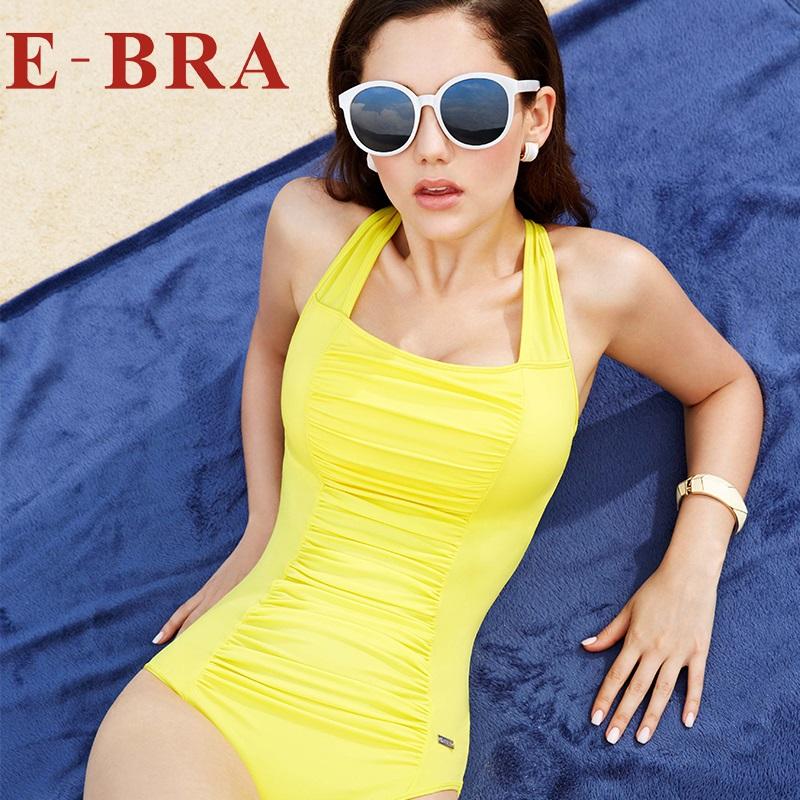 安莉芳旗下E-BRA雙肩帶款純色女士性感連體溫泉泳衣KS0100