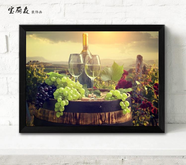 葡萄酒庄园挂画酒庄装饰画红酒桶壁画西餐厅墙画红酒制造厂商墙画