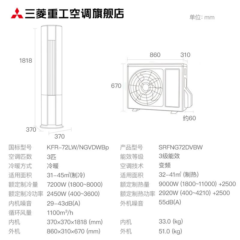 新品 匹变频客厅立式冷暖空调立式柜机 3 NGV 72LW KFR 三菱重工