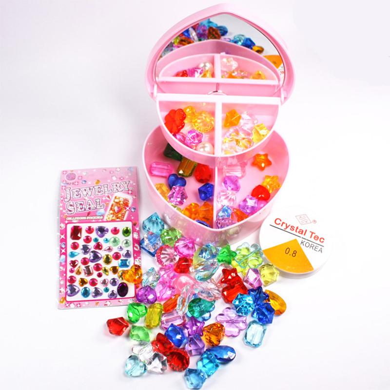 包邮透明心形首饰盒亚克力水晶串珠宝石玩具小女生公主钻石礼物