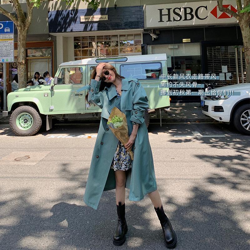 秋季韩版卡其色高端大气时尚宽松气质过膝中长款风衣女 DHY 大花媛