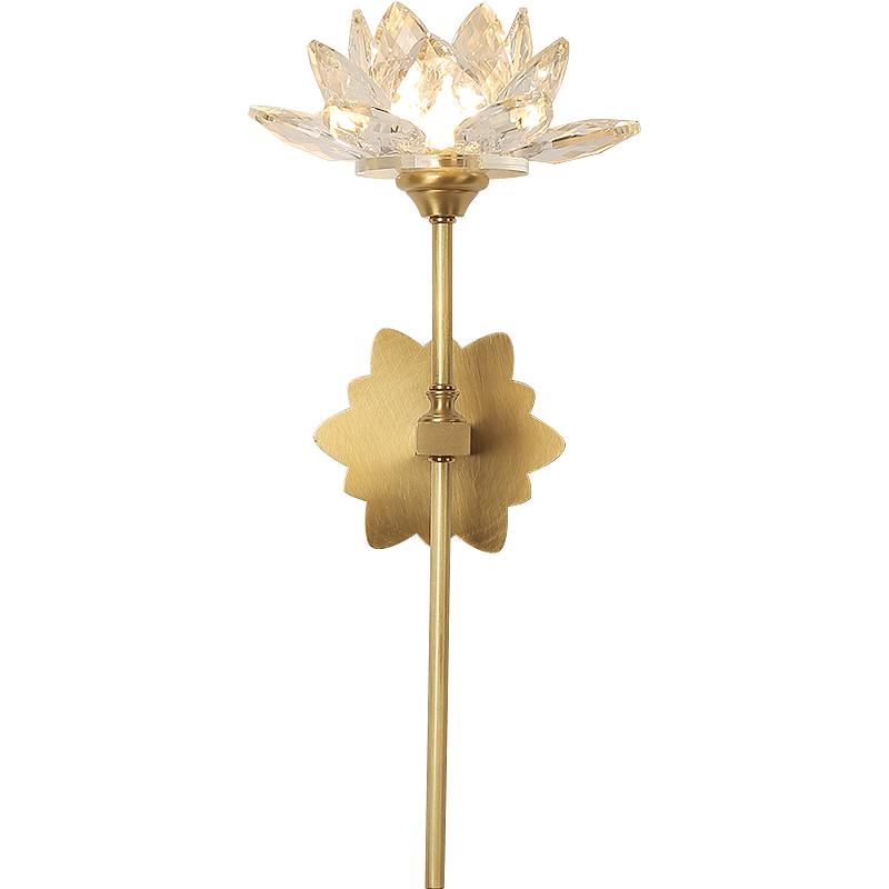 中式壁灯新中式中国风禅意床头灯创意客厅玄关灯全铜莲花水晶壁灯
