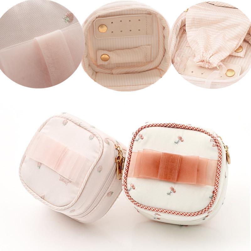 可愛甜美網紗蝴蝶結刺繡首飾盒 迷你首飾手拿包 便攜收納飾品小包