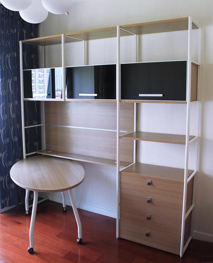 现代简约书桌书架书柜组合电脑桌家用连体书桌柜猫王台式钢木家具