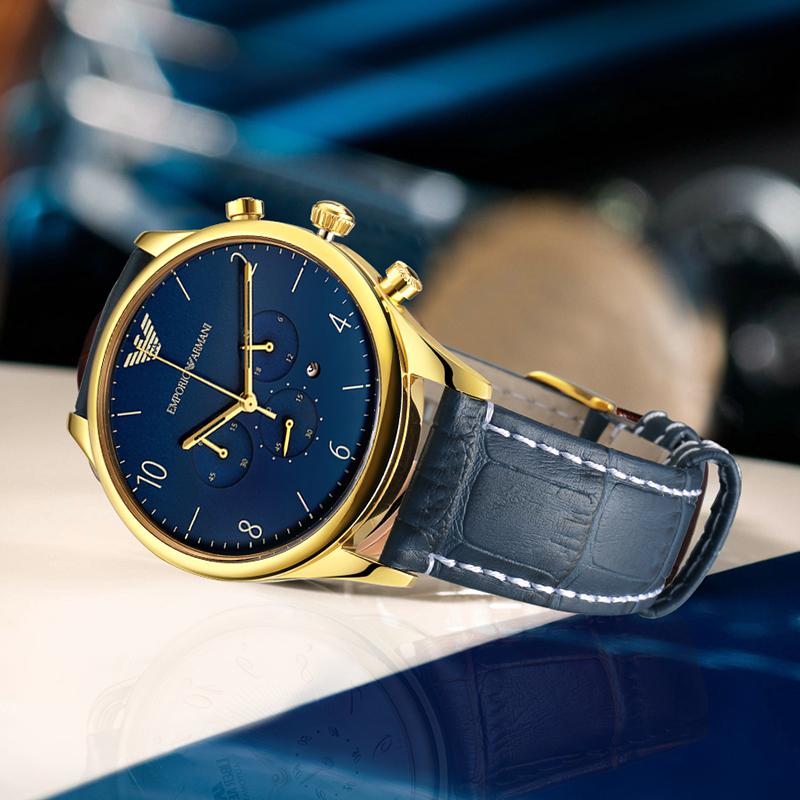 Armani阿玛尼手表男时尚休闲男士皮带表蓝色简约石英表AR1862