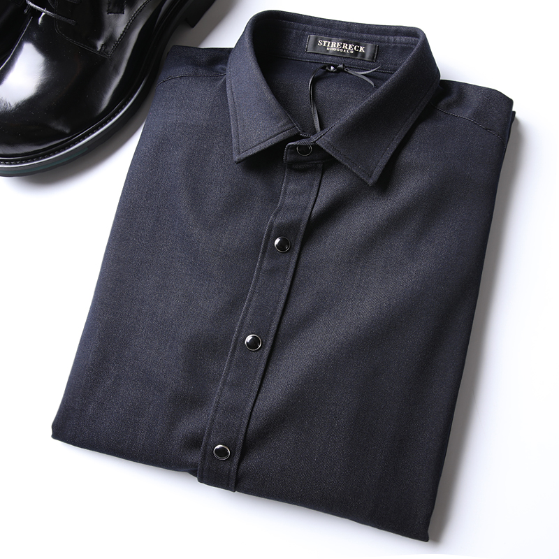 诺必达春季 天丝牛仔挺括有型可当小外套 男士休闲长袖衬衫衬衣