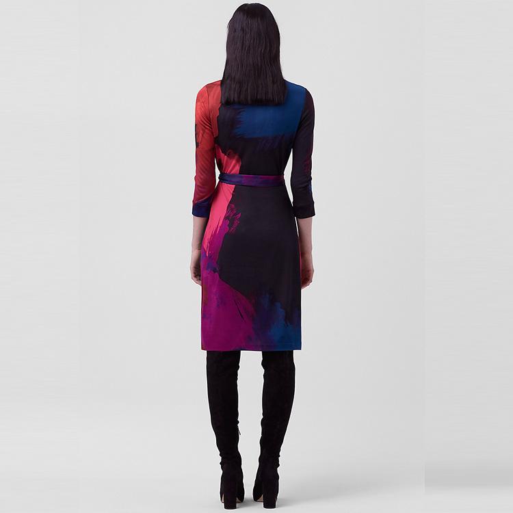 2019春季新款D*F裹身裙V领收腰修身显瘦系带拼色印花连衣裙中长款