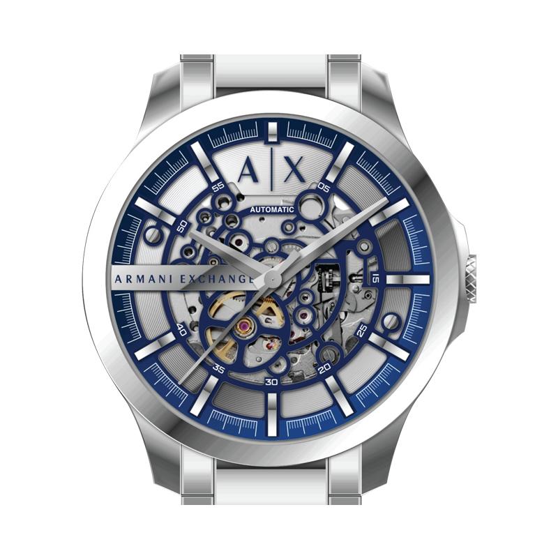 Armani阿玛尼全自动机械表男表休闲手表钢带镂空腕表男AX2416
