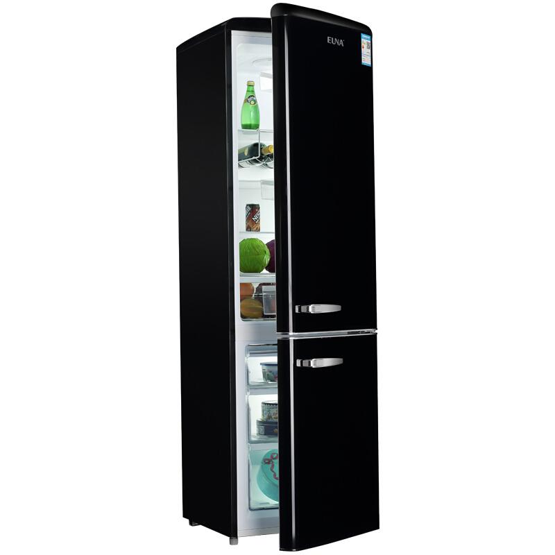 升复古双开门彩黑白色家用大容量办公室时尚可爱电冰箱 249 优诺