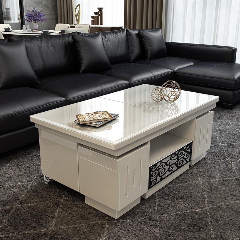 多功能功夫茶几简约现代大小户型客厅伸缩电视柜可升降茶桌椅组合