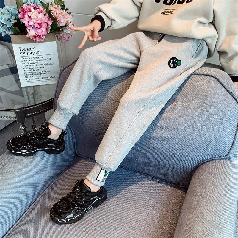 女童加绒裤子秋冬外穿一体洋气宽松中大童冬季儿童加厚运动裤长裤